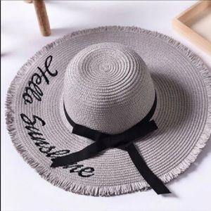 """HELLO SUNSHINE"" Gray/Black Weaved Straw Sun Hat"